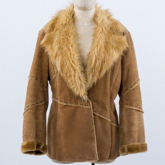 Vintage M Suede Leather Fur Jacket Coat Brown
